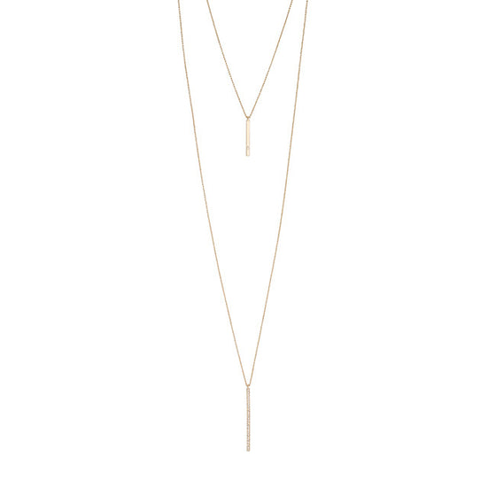 0.13ct CZ Gold Layered Drop Necklace