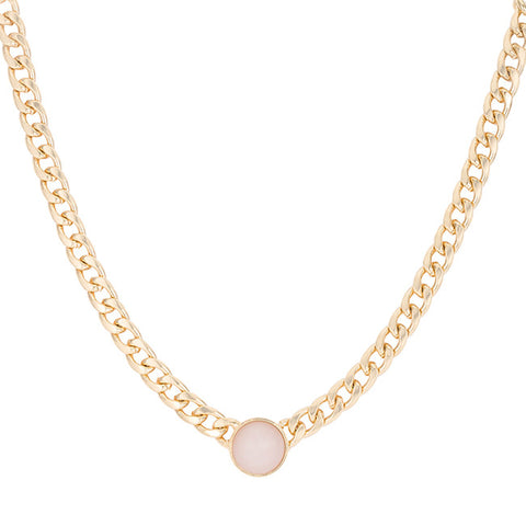 Rose Cat's Eye Cabochon Gold Chain Statement Necklace