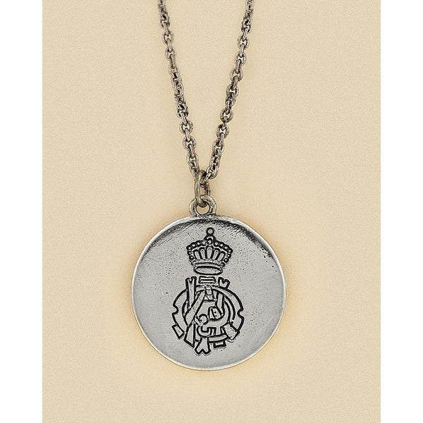 Brigida White Gold Rhodium Crest Medallion Necklace
