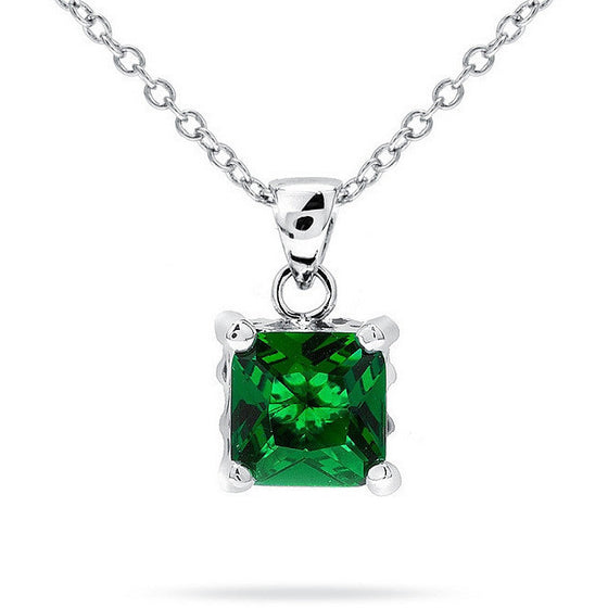 Kara 4.5ct Emerald CZ White Gold Rhodium Pendant Necklace