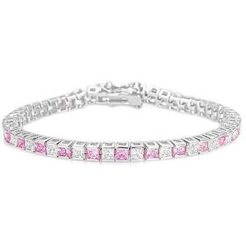 Isla 10.8ct Pink and Clear CZ White Gold Rhodium Tennis Bracelet