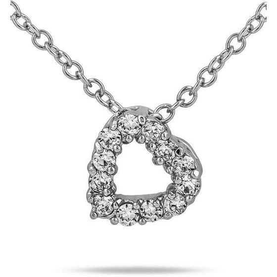 Mariane 0.8ct CZ White Gold Rhodium Classic Heart Necklace