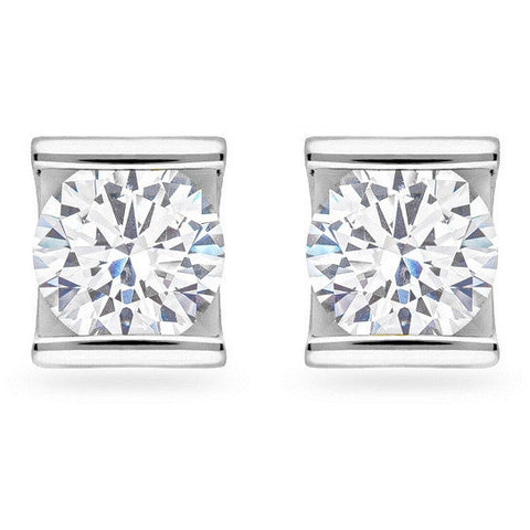 Fifi 1.3ct CZ White Gold Rhodium Earrings