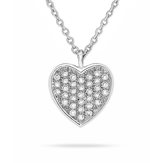 Ezria 1.5ct CZ White Gold Rhodium Heart Necklace