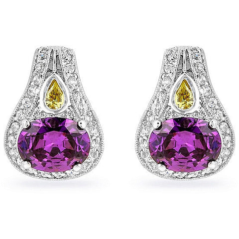 Bea 6.8ct Amethyst CZ White Gold Rhodium Earrings