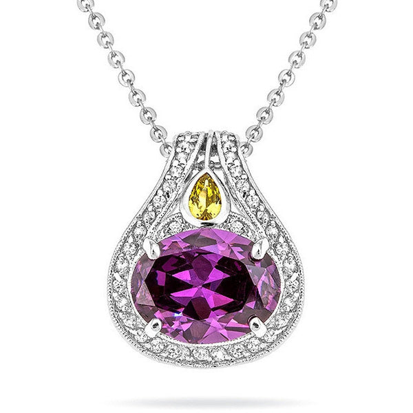 Bea 9.4ct Amethyst CZ White Gold Rhodium Pendant Necklace