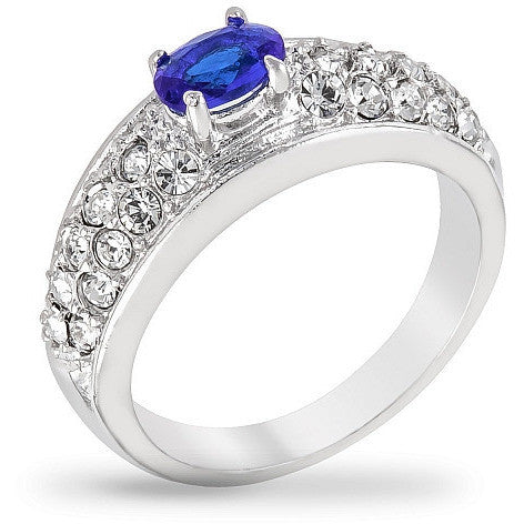 Joyce 0.3ct Sapphire and Clear CZ White Gold Rhodium Ring
