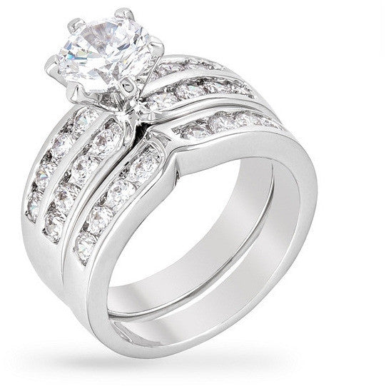 Antoinette 4ct CZ White Gold Rhodium Ring Set