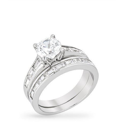 Charisse 1.8ct CZ White Gold Rhodium Wedding Set