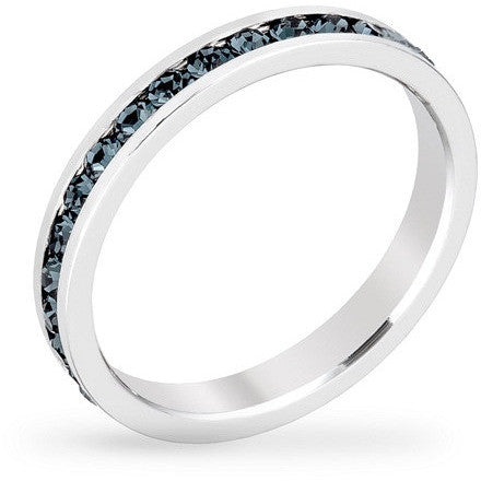Tessa 3.5ct Crystal Montana Blue White Gold Rhodium Eternity Band