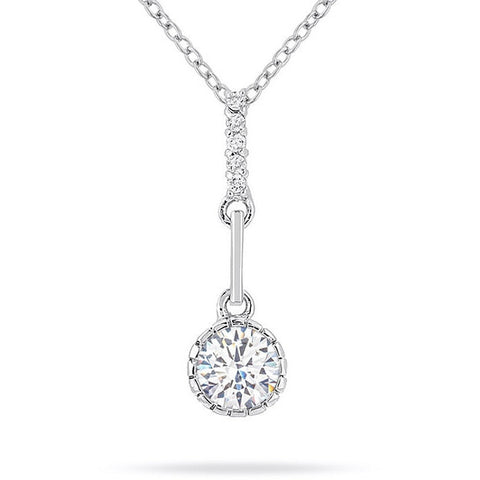 Mavis 1.3ct CZ White Gold Rhodium Pendant Necklace