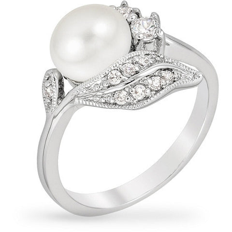 Kelsey 1.2ct CZ White Gold Rhodium Pearl Ring