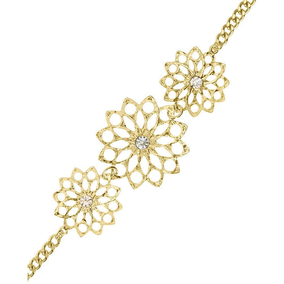 Azalea Clear Crystal 14k Gold Flower Bracelet