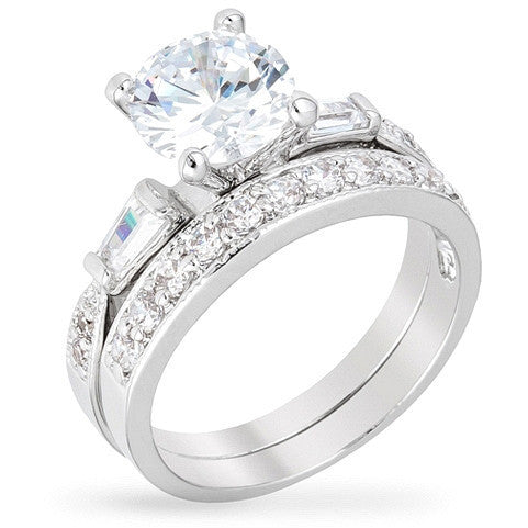 Cailin 3ct CZ White Gold Rhodium Simple Engagement Ring Set
