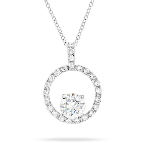 Elaina 3.5ct CZ White Gold Rhodium Circle Drop Pendant Necklace
