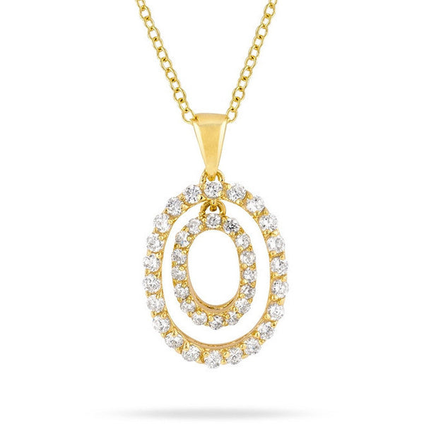 Deanne 2.1ct CZ 14k Gold Circle Drop Necklace
