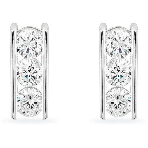 Rebecca 0.8ct CZ White Gold Rhodium Channel Stud Earrings