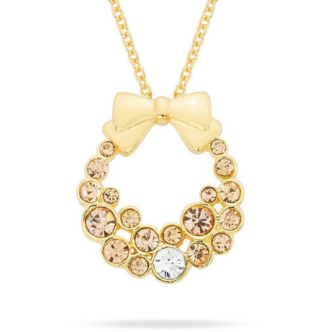 Dollie Champagne Crystal 14k Gold Wreath Pendant Necklace
