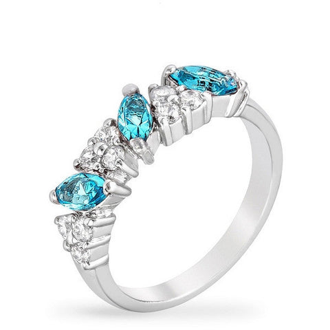 Lily 1.5ct Aqua CZ White Gold Rhodium Classic Ring