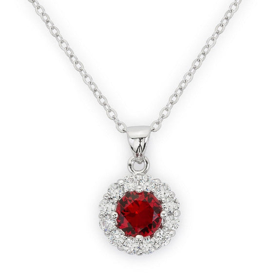 Emmelina 3.5ct Ruby CZ White Gold Rhodium Necklace