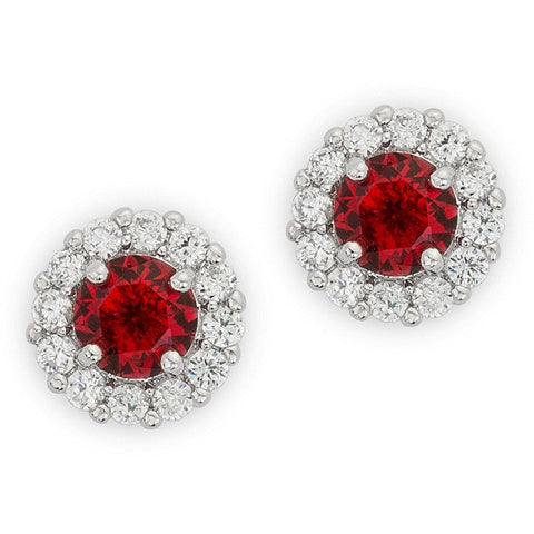 Emmelina 4.5ct Ruby CZ White Gold Rhodium Simple Stud Earrings