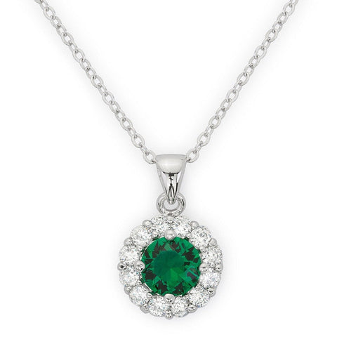 Emmelina 3.5ct Emerald CZ White Gold Rhodium Necklace