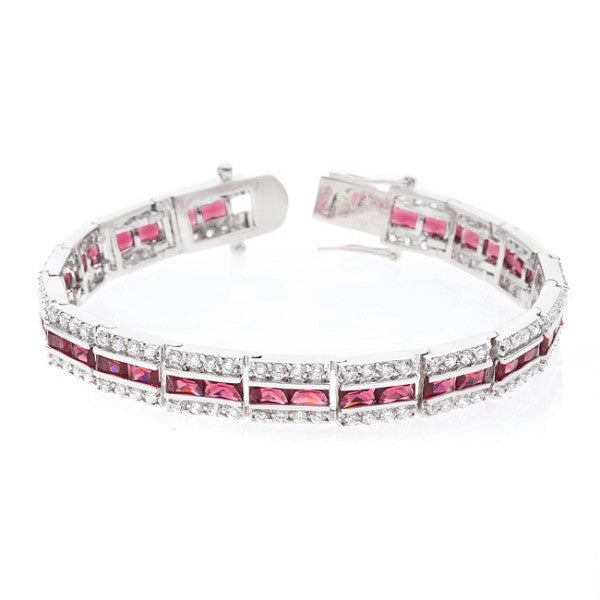 Nora 51ct Ruby CZ White Gold Rhodium Statement Tennis Bracelet