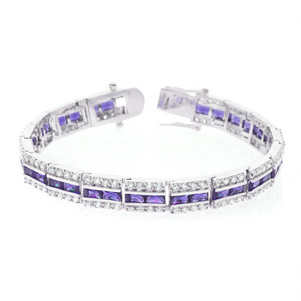 Nora 51ct Amethyst CZ White Gold Rhodium Statement Tennis Bracelet