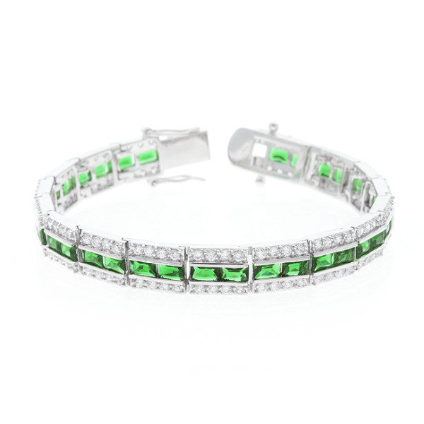 Nora 51ct Emerald CZ White Gold Rhodium Statement Tennis Bracelet