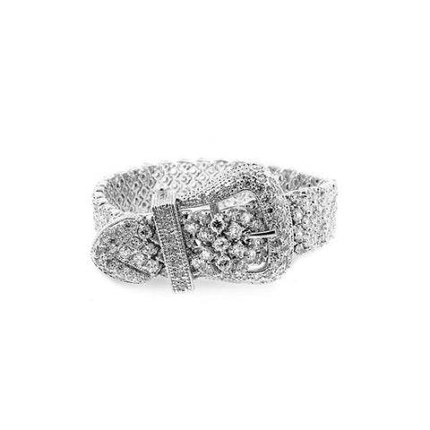 Mikaela 19.3ct CZ White Gold Rhodium Buckle Bracelet