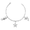 Sally 0.8ct CZ White Gold Rhodium Seashore Charm Bracelet