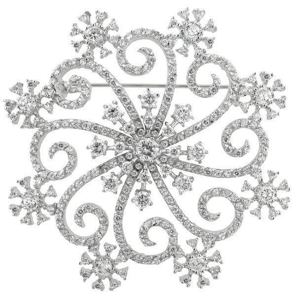Alice 17.1ct CZ White Gold Rhodium Snowflake Brooch