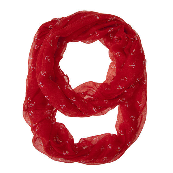 Anchor Red Infinity Scarf