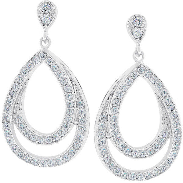 Evelyn 4ct CZ White Gold Rhodium Glamorous Drop Earrings
