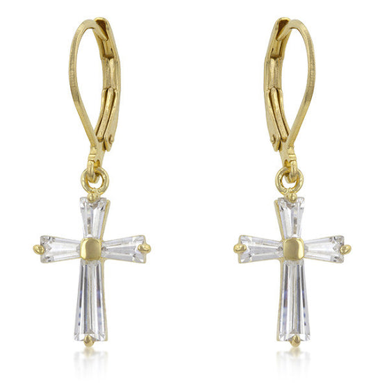 Mary 0.7ct CZ 14k Gold Cross Drop Earrings
