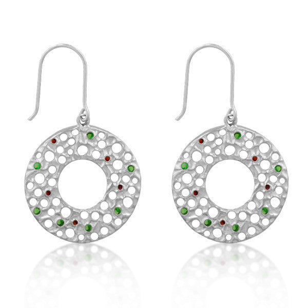 Nelly 1ct Ruby and Emerald CZ White Gold Rhodium Circle Drop Earrings