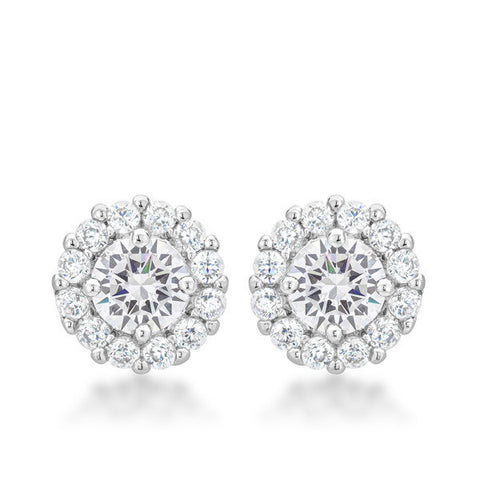 Emmelina 4.5ct CZ White Gold Rhodium Simple Stud Earrings