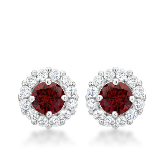 Emmelina 4.5ct Garnet CZ White Gold Rhodium Simple Stud Earrings