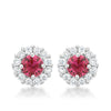 Emmelina 4.5ct Fuchsia CZ White Gold Rhodium Simple Stud Earrings
