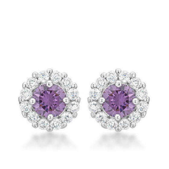Emmelina 4.5ct Lavender CZ White Gold Rhodium Simple Stud Earrings