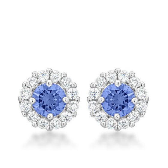 Emmelina 4.5ct Tanzanite CZ White Gold Rhodium Simple Stud Earrings