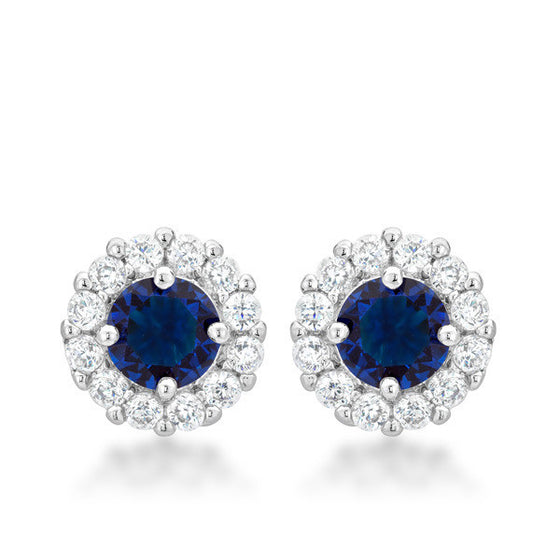Emmelina 4.5ct Sapphire CZ White Gold Rhodium Simple Stud Earrings