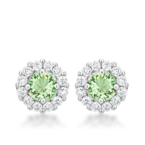 Emmelina 4.5ct Peridot CZ White Gold Rhodium Simple Stud Earrings