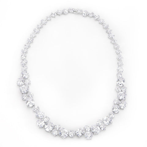 Adeline 203ct CZ White Gold Rhodium Elegant Collar Necklace