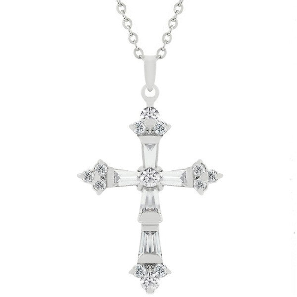 Christal 1.5ct CZ White Gold Rhodium Brilliant Cross Pendant
