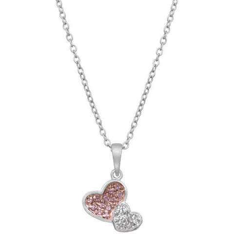 Two Hearts Pave Pendant