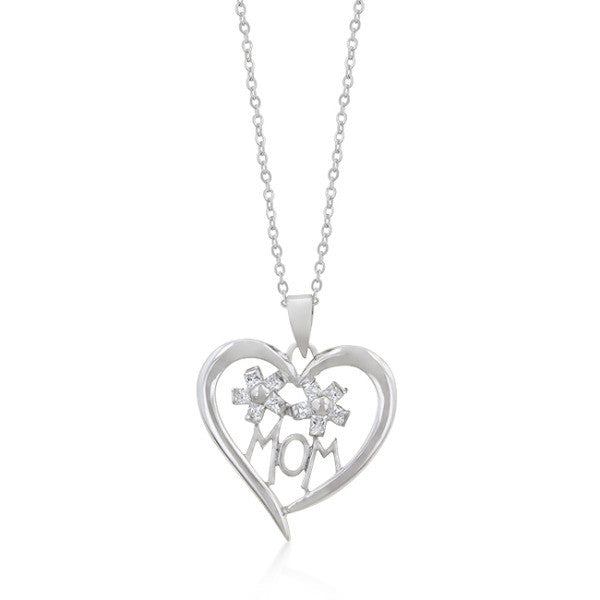 Sherry 1ct CZ White Gold Rhodium Heart Drop Mom Necklace