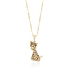 Golden Cubic Zirconia Giraffe Pendant Necklace