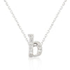 Alexia 0.3ct CZ White Gold Rhodium B Initial Micro Pave Pendant Necklace