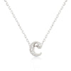 Alexia 0.3ct CZ White Gold Rhodium C Initial Micro Pave Pendant Necklace